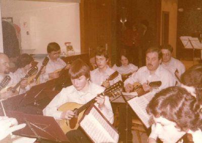 Orchesterauftritt in der Sparkasse Gross Umstadt bei der Pramienauslosung 1977