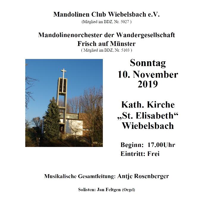 Konzert am 10.11.19 ab 17.00 Uhr in der Kath. Kirche Wiebelsbach